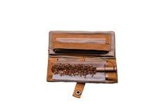 brun läderhandväskaplånbok Royaltyfri Fotografi