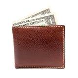 brun läderpengarplånbok Arkivfoton