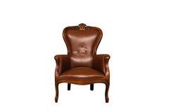 Brun läderstol för antikvitet Royaltyfri Bild