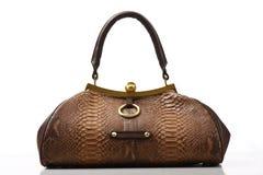 brun läderhandväska Royaltyfri Bild