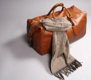 brun leathescarf för påse Arkivfoto