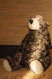 Brun leksakbjörn som sitter på soffan i strålarna av ljus Royaltyfri Bild