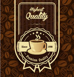 Brun modellbakgrund med kaffeetiketten Arkivbilder