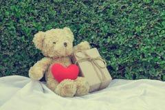 Brun nallebjörn som sitter på vitt tyg royaltyfri fotografi
