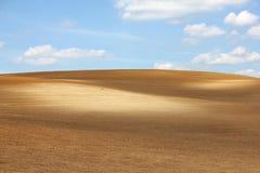 Brun odlingsbar kulle mot blå himmel Royaltyfri Foto