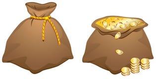 Brun påse mycket av guld- mynt Royaltyfria Bilder