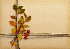 Brun papp som binds med repet, höstsidor och röda bär arkivfoto