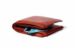 brun plånbok för kortkrediteringsläder Arkivfoto