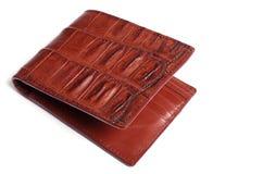 Brun plånbok för krokodilhudläder Royaltyfria Bilder