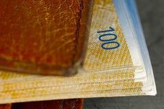 Brun plånbok med schweizisk francsedlar inom royaltyfri fotografi