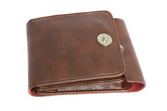 Brun plånbok på en vit bakgrund Royaltyfri Bild
