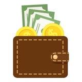 Brun plånboklägenhetsymbol som isoleras på vit Arkivfoto