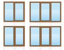 Brun plast- genomskinlig fönstersikt inomhus och utomhus vecto Arkivfoto