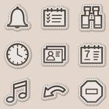 brun rengöringsduk för etikett för serie för kontursymbolsorganisatör stock illustrationer
