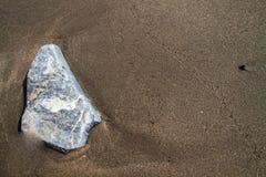 Brun sand på stranden med vaggar textur. arkivbild