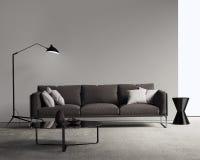 Brun soffa i en modern modern vardagsrum Arkivbild