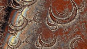 Brun spiral vågFractalvirvel, nätt bakgrund för kort, baner eller bröllopinbjudan Arkivfoton
