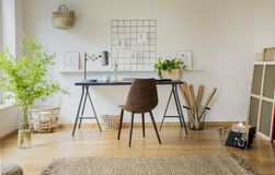 Brun stol på skrivbordet med växter och lampan i den vita workspaceinre med matta Verkligt foto arkivbilder
