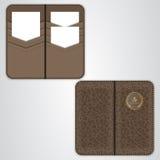 Brun storgubbekorthållare för affärskort, korthållare i svart läder, sikten från båda sidor Royaltyfria Foton