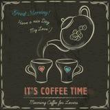 Brun svart tavla med en två kopp av den varma kaffe och kokkärlet, vektor Royaltyfri Fotografi