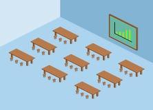 Brun tabell och stol med den gröna svart tavla och isometriskt diagram Arkivbilder