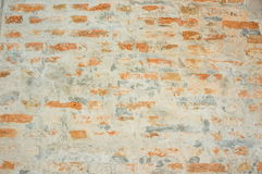 Brun tegelsten på cementväggen Royaltyfri Bild
