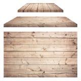 Brun trävägg, tabell, golvyttersida, trätextur Objects isoleras på vitbakgrund fotografering för bildbyråer