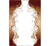 brun utformad vektor för violoncell blommig ram royaltyfri illustrationer