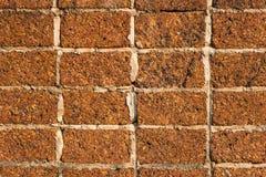 Brun vägg av tegelstenar, grov texturbakgrund Arkivfoto