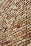 brun vägg för tegelsten Arkivfoto