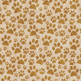 Brun vovvePaw Print Tile Pattern Repeat bakgrund Royaltyfria Bilder