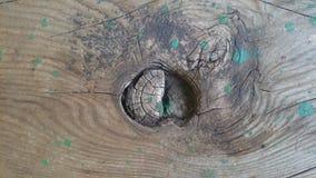Brun wood textur med modeller av hål i mitt Arkivfoto