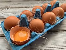 Bruna ägg i en blå ask royaltyfri bild