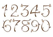 bruna blom- nummer royaltyfri illustrationer