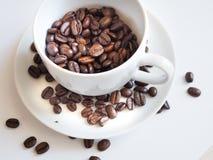 Bruna kaffebönor i en vit kopp Arkivbilder