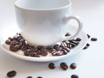 Bruna kaffebönor i en vit kopp Royaltyfria Foton