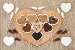 bruna kolhydrat bantar sjuklig white för socker Fotografering för Bildbyråer