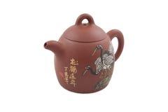 bruna kranar som tecknar teapot två arkivbild