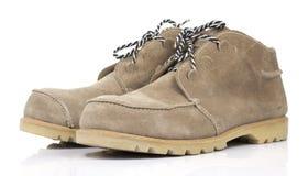 Bruna lädersäkerhetsskor Arkivfoto