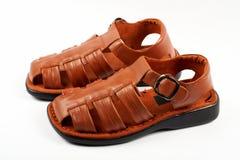 bruna lädersandals Arkivbilder