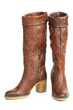 Bruna läderskor för kvinnlig Arkivbild