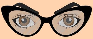 Bruna mänskliga ögon med exponeringsglas royaltyfri illustrationer