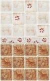 Bruna marmortegelplattor med blom- garneringar Royaltyfri Bild