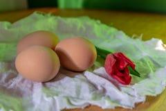 Bruna nya ägg med den röda tulpan på vitt linenetyg och trätabellyttersida close upp royaltyfri bild