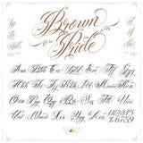 Bruna Pride Tattoo Font Set Arkivfoto