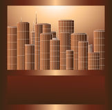 bruna rammetallscyscrapers Arkivbilder