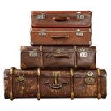 Bruna resväskor för tappning Royaltyfri Foto
