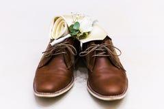 Bruna skor för läderman` s Royaltyfria Bilder