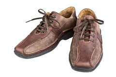 bruna skor för läderman s Royaltyfri Foto