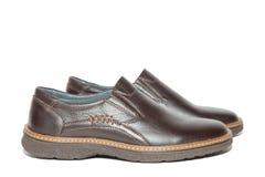 Bruna skor för man` s Fotografering för Bildbyråer